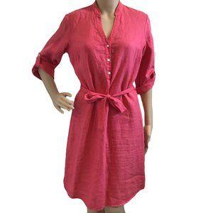 J McLAUGHLIN Linen Miranda Dress Pink Belted 12